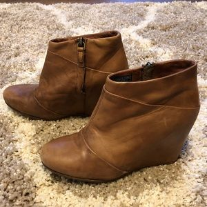UGG Brown Leather Wedge Booties Size 7.5